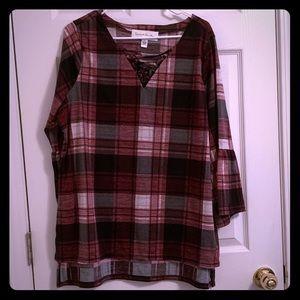 Soft Flannel Bell Sleeve Shirt!